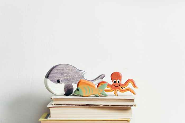 wooden toys on top of the books