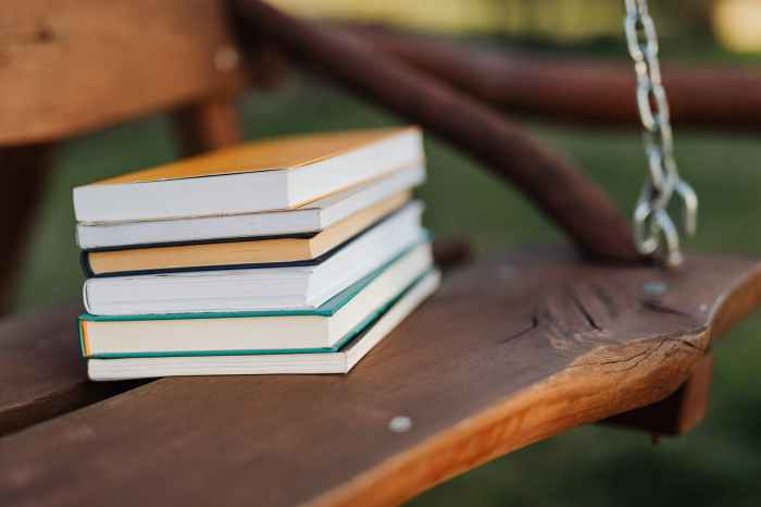 stack of books on wooden swing